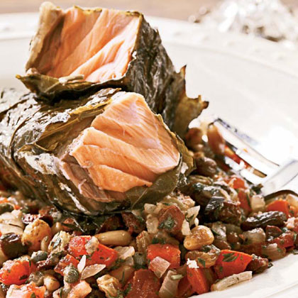 Grilled Salmon in Grape Leaves with Tomato-Raisin Relish Recipe