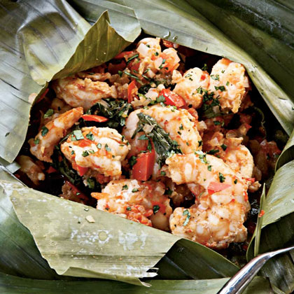 Grilled Shrimp in Banana-leaf Pouch