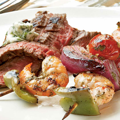 -Lime Marinated Shrimp Kebabs with Grilled Flank Steak and Cilantro ...