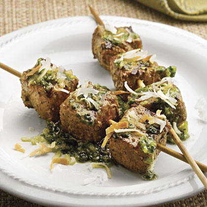 Curried Beef Kabobs With Jade Sauce