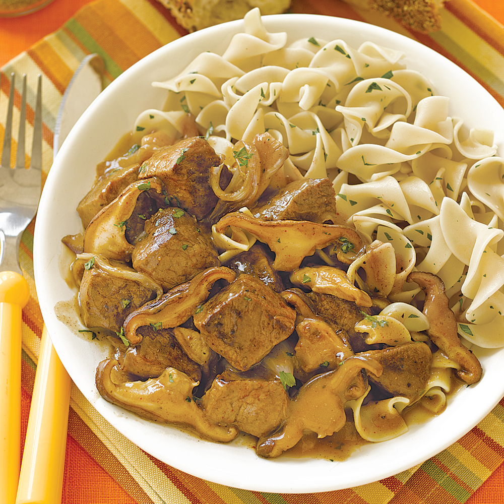 Beef Stroganoff RecipeTransform beef stew meat into this savory dinner that calls for just seven ingredients. Brown the meat in a skillet beforehand and combine with beef broth, sour cream, and sautÉed mushrooms and shallots. Cook for 6 hours on low and serve with hot cooked egg noodles.