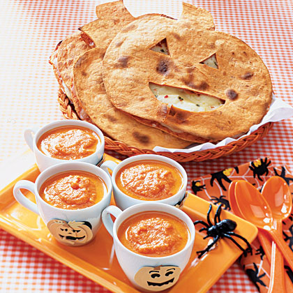 "Kids' Halloween Dinner Menu MenuFriendly pumpkin-shaped quesadillas served alongside ""bloody"" soup and ""bug-filled"" salad will put the whole family in a festive, Halloween spirit."
