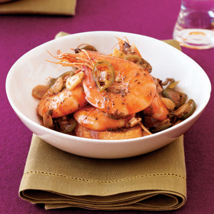 Donald Link, HerbsaintHis time in both New Orleans and San Francisco has added a refined style to Donald's Louisiana background, as in this spicy and delicious but not exactly Cajun recipe. For easy peeling, use shell-on deveined shrimp, whose shells come precut up the back.Recipe:Chile-Roasted Shrimp
