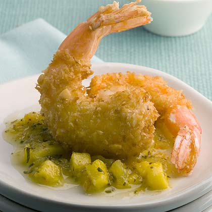 Coconut Macadamia Shrimp With Warm Tropical Salsa