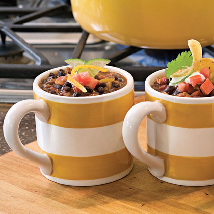 Black Bean Chili RecipeUsing meatless soy crumbles in place of ground beef for chili and soup is a great way to decrease fat and increase fiber. Because this chili is packed with beans, onion, canned tomatoes, and the hearty burger crumbles, you'll never miss the meat.