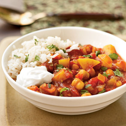 Moroccan Chickpea Stew RecipeChockful of protein and other nutrients, chickpeas are a popular grain throughout the Mediterranean, Middle East, and India. This stew features chickpeas, common Moroccan spices, potatoes, tomatoes, and onion served over brown rice (or couscous, if you prefer).