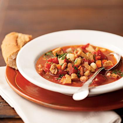 Smoky Seitan, Pinto Bean, and Hominy Stew