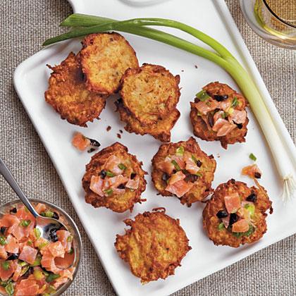 Mini Latkes with Salmon-Olive Relish