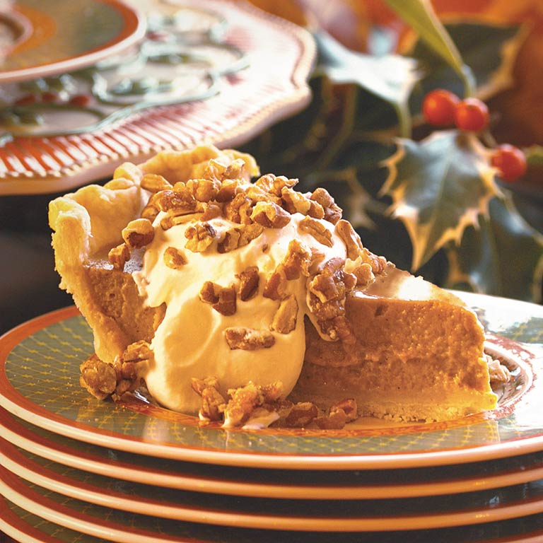 Pumpkin Pie with Maple Cream and Sugared Pecans Recipe