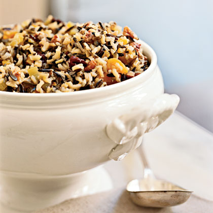 This hearty stuffing is chock full of vegetables, pecans, and dried cherries and apricots. The sweet-and-savory combination is a sure crowd-pleaser, and stuffing is an easy side to make for large groups.Yield: 12 servingsRecipe:Wild Rice Stuffing