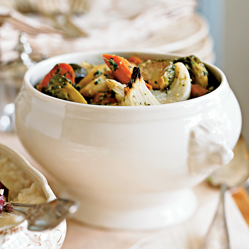 Roasted Root Vegetables with Walnut Pesto Recipe
