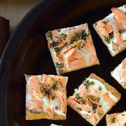 Smoked salmon canap s recipe myrecipes for Salmon canape ideas