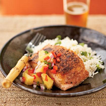 <p>Pan-Seared Salmon with Pineapple-Jalapeno Relish</p>