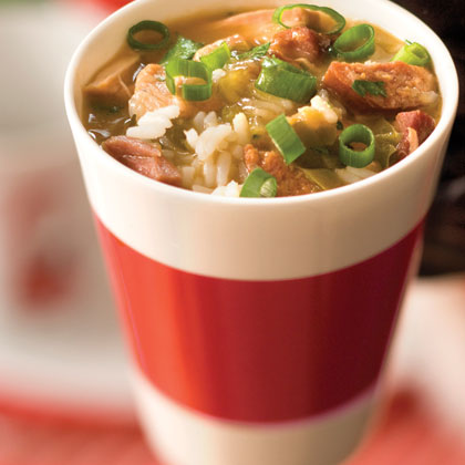 Tasso is a spicy smoked cut of pork or beef that's popular in many Cajun dishes. Here it joins chicken thighs and andouille sausage in a classic gumbo.Chicken-Tasso-Andouille Sausage Gumbo