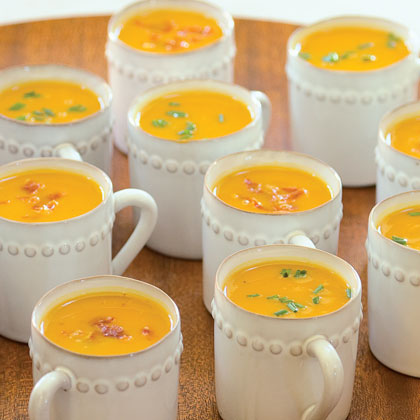 Sweet-Potato Soup with Prosciutto Crisps Recipe