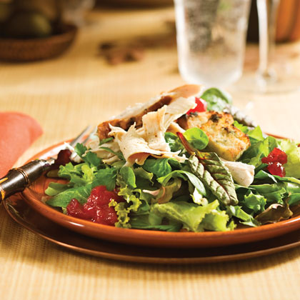 Use your Thanksgiving leftovers to make a hearty salad. Cut cornbread dressing into cubes and toast for croutons, and top mixed greens with leftover turkey and cranberry sauce.Thanksgiving Salad Recipe