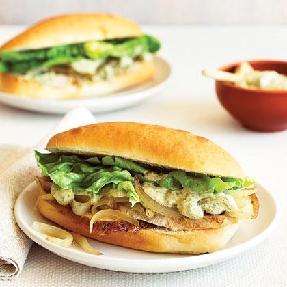 Turkey Sandwiches with Caramelized Onions and Charmoula Mayo Recipe
