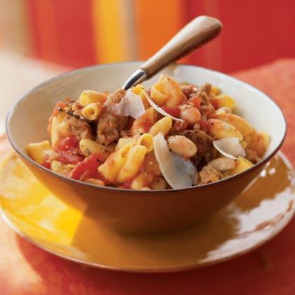 Sausage and Bean Ragù on Quinoa Macaroni