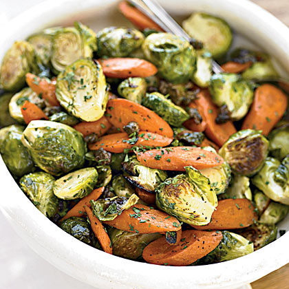 Roasted Brussels Sprouts With Crispy Capers and Carrots
