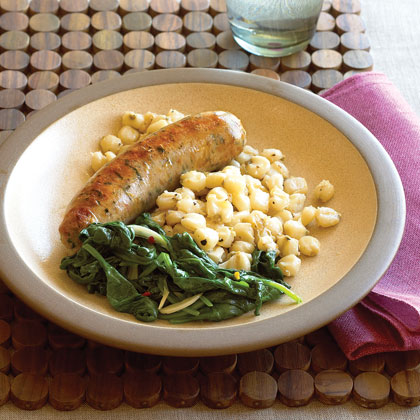 Sausage with Hominy and SpinachRecipe