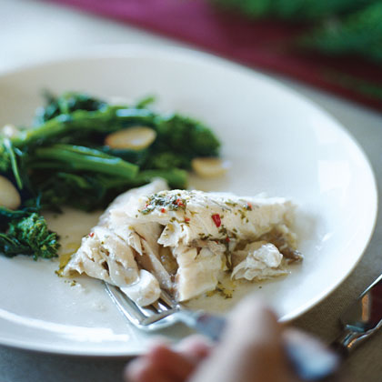 Salt-baked Striped Bass with Herb Lemon Chile Sauce (Branzino Sotto Sale con Salmoriglio)