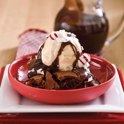 Mint Hot Fudge-Brownie Sundaes