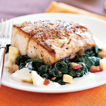 Roasted Black Bass with Apple Cider–Kale Sauce