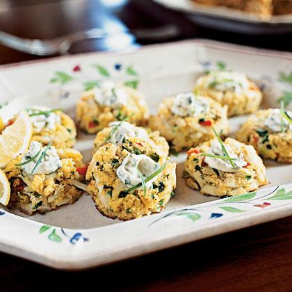 Mini Corn Bread Crab Cakes With Lemon Caper Sauce