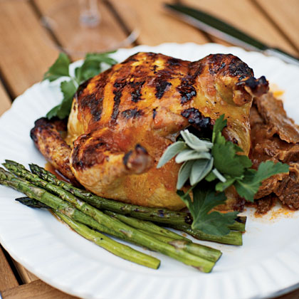 Grilled Cornish Game Hens with Apricot-Chipotle Glaze