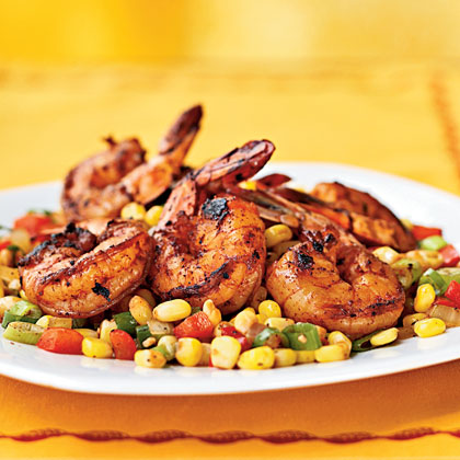Three-Chile-Dusted Shrimp with Quick Corn RelishRecipe