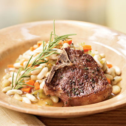 Lamb Chops with Rosemary Flageolets