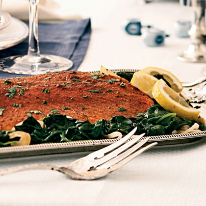 Spice-Rubbed Roasted Salmon with Lemon-Garlic SpinachRecipe