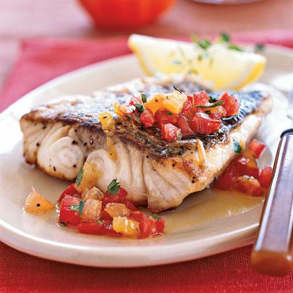 Pan-roasted Sea Bass with Citrus–Heirloom Tomato Vinaigrette