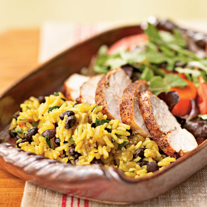 Jerk-Seasoned Turkey with Black Beans and Yellow Rice Recipe