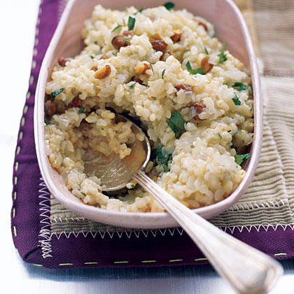 Brown Rice Pilaf with Almonds and Parsley