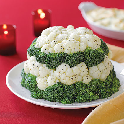 Broccoli and Cauliflower Tower
