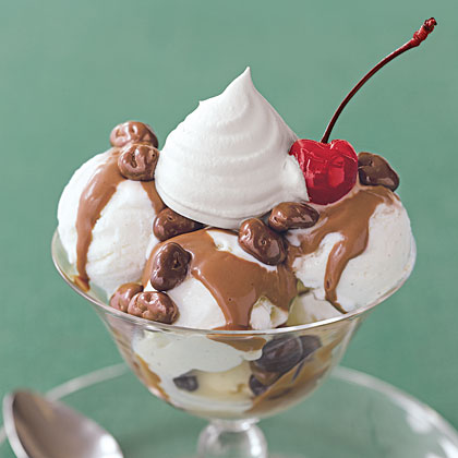 Raisin Sundaes with Chocolate-Peanut Butter Sauce Recipe