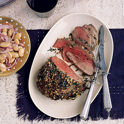 Roasted Tarragon Lamb with Butter Beans