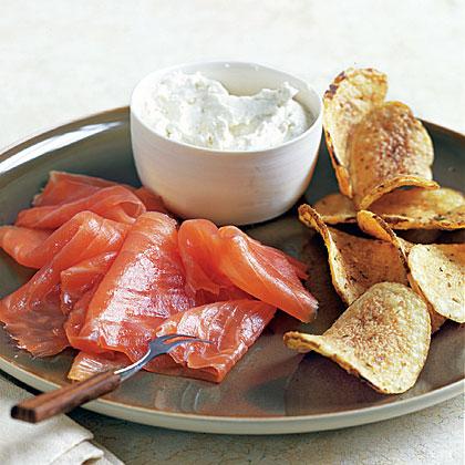 Smoked Salmon and Horseradish Cream with Potato Chips