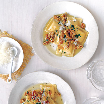 Cheese Ravioli with Toasted Walnuts RecipeEnhance the flavor of store-bought cheese ravioli by topping with toasted walnuts, lemon juice, parsley, and Parmesan cheese. Pair with a bagged green salad for a super-quick supper.