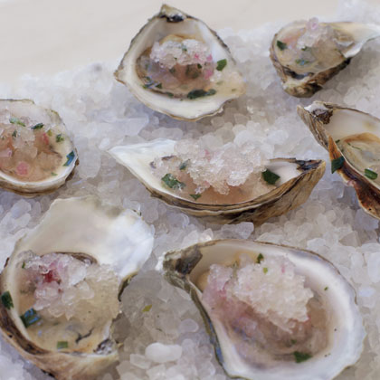 Oysters on the Half-Shell with Grapefruit GranitaRecipe