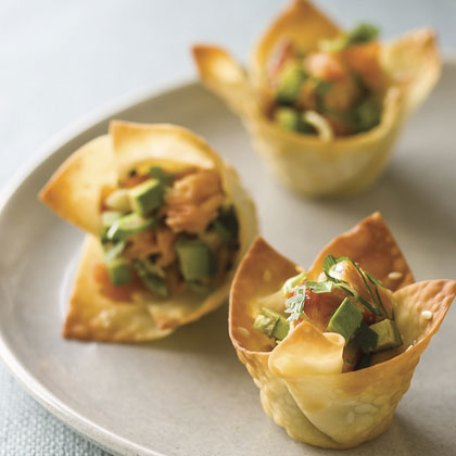 Won Ton Cups with Hot-Smoked Salmon and Avocado Recipe