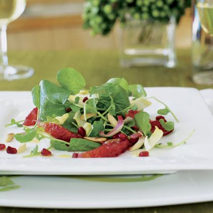 Watercress Endive Salad with Blood Oranges and PomegranatesRecipe