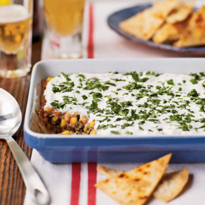 <p>Party Bean Dip with Baked Tortilla Chips</p>
