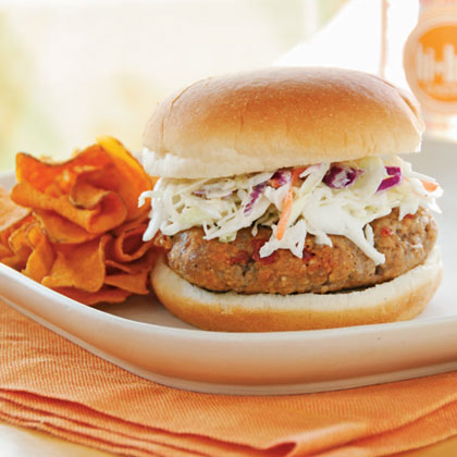 <p>Chipotle Barbecue Burgers with Slaw</p>