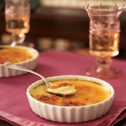 Cinnamon-Orange Crème Brûlée RecipeNothing is more elegant and impressive to serve during the holidays than a créme brûlée, especially one that boasts favorite holiday flavors like cinnamon and orange. Because the custard is made with reduced-fat milk, nonfat dry milk, and fewer eggs, it has about two-thirds less fat than a traditional brûlée.