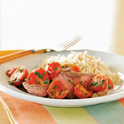 <p>Broiled Flank Steak with Warm Tomato Topping</p>