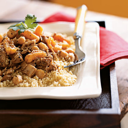 Moroccan Chicken Thighs RecipeInspired by North African tagines, this Moroccan chicken recipe uses skinless, boneless chicken thighs and is ready in a little over an hour.