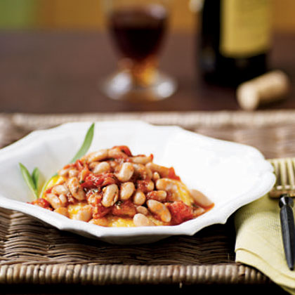 Polenta with Tomato-Braised Beans