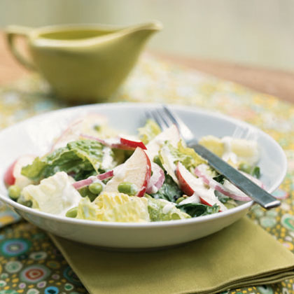 Romaine Salad with Edamame and Creamy Horned Melon Dressing